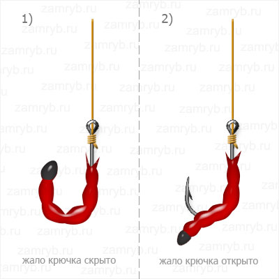 Насаживание мотыля на крючок чулком