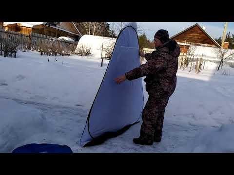 Видео сборки зимней палатки автомат.