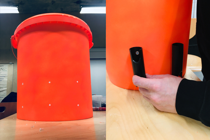 ATTACH ROD HOLDERS TO BUCKET